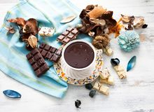 Горячий шоколад с белым и темным шоколадом стоковое изображение
