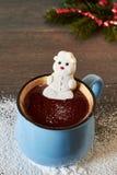 Горячий шоколад и расплавленный снеговик зефира Стоковые Фото