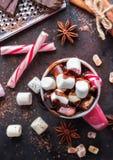 Горячий шоколад с зефирами и специями на таблице темноты grunge Стоковые Изображения RF