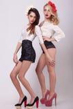 2 горячих девушки во всю длину на серой предпосылке Стоковое Изображение