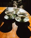 3 горячих кофе Стоковые Изображения