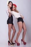 2 горячих сексуальных модели на серой предпосылке Стоковые Изображения RF