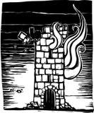 горящая башня иллюстрация вектора