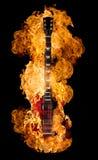 горящая гитара Стоковая Фотография RF