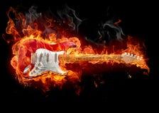 горящая гитара Стоковое Изображение