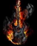 горящая гитара Стоковые Изображения RF