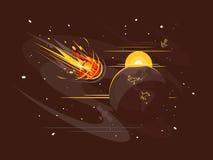 Горящая комета в космосе иллюстрация вектора