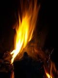 горящая ноча журнала пожара Стоковые Изображения RF
