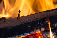 Горящая древесина с ногтем Стоковые Фото