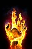 горящая рука Стоковое Изображение