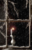 Горящая свеча в окне 2 Стоковые Фото