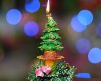Горящая свеча зимы Стоковые Фото