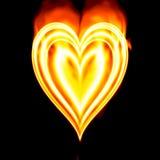 горящее Валентайн сердца пожара Стоковое Изображение