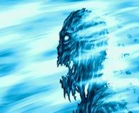 Горящее головное идущее зомби в пламени лепестков бесплатная иллюстрация
