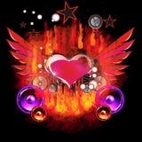 горящее сердце летания Стоковые Фото
