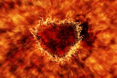 Горящее сердце с влиянием пламени Стоковые Изображения RF