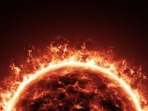 Горящее солнечное в крупном плане космоса Стоковые Фото