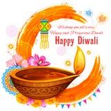 Горящее diya на счастливой предпосылке акварели праздника Diwali для светлого фестиваля Индии Стоковые Изображения RF