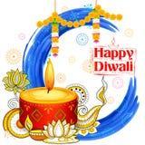Горящее diya на счастливой предпосылке акварели праздника Diwali для светлого фестиваля Индии Стоковое фото RF