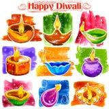 Горящее diya на счастливой предпосылке знамени акварели праздника Diwali для светлого фестиваля Индии Стоковые Фото