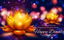 Горящее diya на счастливой предпосылке праздника Diwali для светлого фестиваля Индии Стоковые Фотографии RF
