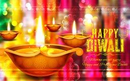 Горящее diya на счастливой предпосылке праздника Diwali для светлого фестиваля Индии Стоковое Изображение RF