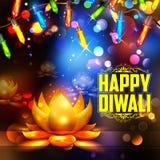 Горящее diya на счастливой предпосылке праздника Diwali для светлого фестиваля Индии Стоковая Фотография