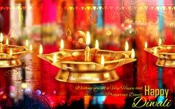 Горящее diya на счастливой предпосылке праздника Diwali для светлого фестиваля Индии Стоковое Фото