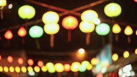 Горящие въетнамские национальные света на улицах Nha Trang Вьетнам акции видеоматериалы