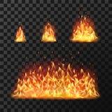 Горящие пламена огня или горячий пламенеющий файрбол пламени Пылая изолированный огнями комплект вектора бесплатная иллюстрация