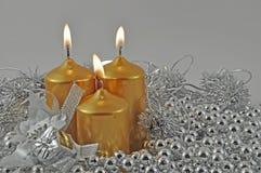 горящие свечки серебра Стоковое Изображение