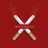 Горящие сигареты для для некурящих концепции дня Стоковые Изображения RF
