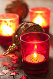 Горящие фонарики и украшение рождества Стоковое Изображение