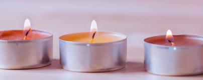 Горящие tealights - свеча Стоковая Фотография RF