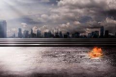 горящий город стоковые фотографии rf
