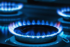 Горящий голубой газ на плите Стоковое Изображение RF