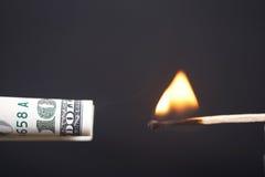 горящий доллар Стоковая Фотография RF