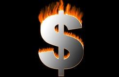 горящий доллар иллюстрация штока