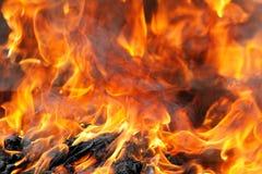 горящий дым пламени пожара Стоковая Фотография