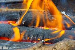 Горящий журнал древесины в конце-вверх камина Стоковые Фото