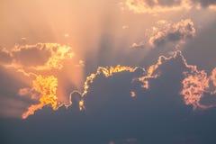 горящий заход солнца Стоковая Фотография RF