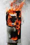 горящий компьютер случая стоковые изображения rf