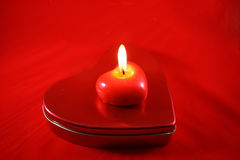горящий красный цвет свечки Стоковая Фотография RF