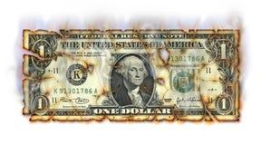 Горящий доллар Стоковые Изображения