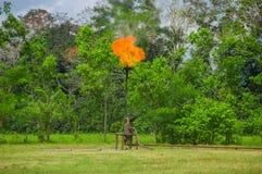Горящий пирофакел газа масла около национального парка Limoncocha в тропическом лесе Амазонки в эквадоре Стоковая Фотография RF