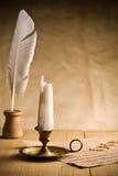 горящий сбор винограда таблицы свечки не Стоковые Изображения