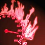 горящий спидометр Стоковая Фотография RF
