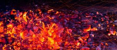 Горящий уголь как предпосылка Стоковое Изображение
