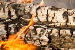 Горящий уголь от древесины как предпосылка Стоковое фото RF