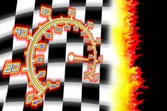 горящий флаг участвуя в гонке спидометр Стоковое Изображение